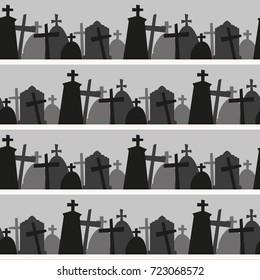 Seamless pattern with gravestone. Halloween background