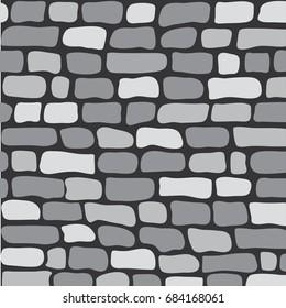 Seamless pattern gray brick wall, vector illustration