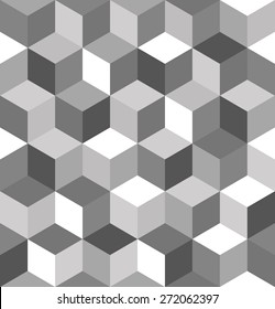 Seamless pattern of gray cubes. Endless black and white cubic background. Cube pattern.  Abstract decoration.