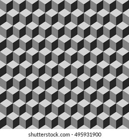 Seamless pattern of gray cubes. Endless black and white cubic background. Cube pattern.