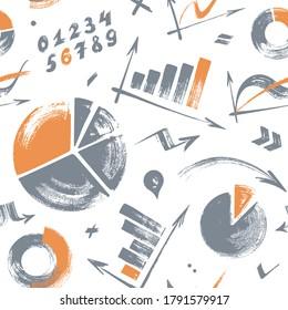 Nahtloses Muster mit grauen und orangefarbenen Infografiken, einzeln auf weißem Hintergrund. Handgezeichnet.