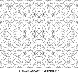 Seamless pattern with gray outline geometric forms.