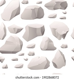 Seamless pattern of gray stones and rocks different sizes and shapes vector illustration on white background