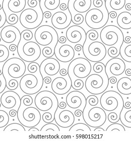 Seamless pattern with gray swirl ornament on white. Background for invitations and cards. Wedding, birthday. Black white