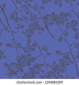 seamless pattern with gray wild flower on blue background