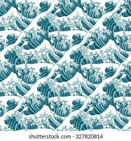 Seamless pattern of the great wave off Kanagawa
