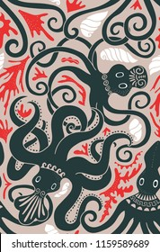 seamless pattern with Greek Minoan octopus for your design project, wallpaper, textile fabric or wrapping paper.