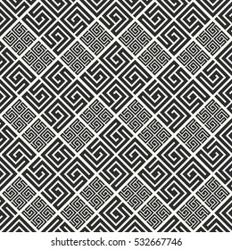 Seamless pattern in greek style. Black and white tilework. Geometric tiles with meander ornament. Monochrome Greece background