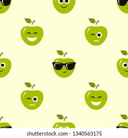 seamless pattern with green apples