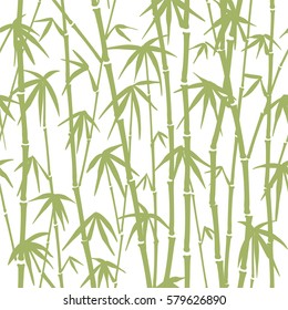 Seamless pattern of green bamboo stalks