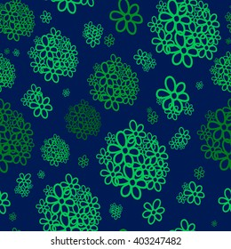 Seamless pattern. Green bunches of flowers on a blue background. For printing on packaging, bags, cups, laptop, furniture, etc. Vector.