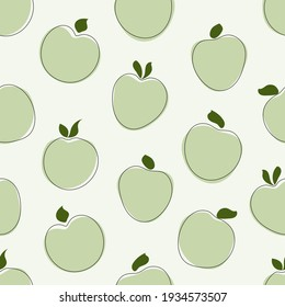 Seamless pattern with green doodle apples on a light background. Vector hand drawn illustration
