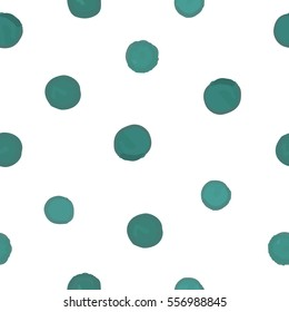 Seamless pattern of green dots on a white background. Vector.