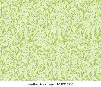 Seamless pattern of green flowering sweet peas.