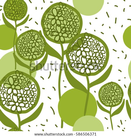 Seamless pattern from green flowers. For printing on packaging, bags, laptop, furniture, etc. Vector.