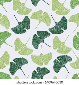Seamless pattern Green ginkgo biloba