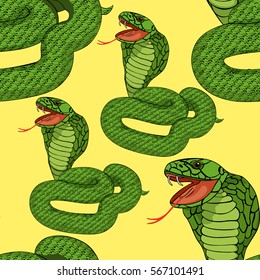 seamless pattern green king cobra with fangs on yellow  vector illustration