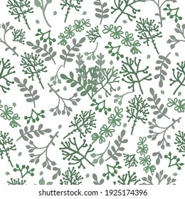 Seamless pattern green leaves, herbs, and berries. Vector doodle pictures, stylized grass in different shades of green. Stock illustration.