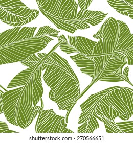 Seamless pattern with green leaves on white background.