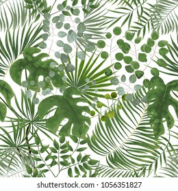 seamless pattern of green leaves. green tropical background in watercolor style. Vector natural, Botanical, elegant pattern. save background design with forest green herbs, leaves, fern.