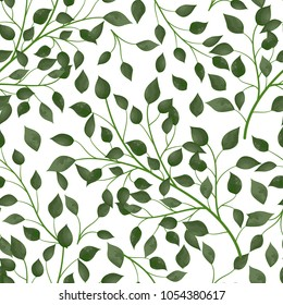 Seamless pattern with green leaves. Vector, EPS 10.