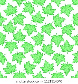 Seamless pattern of the green maple leaves