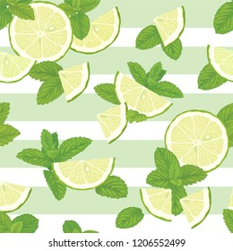Seamless pattern with green mint leaves and lime slice on graphic background template. Vector set of herbal element for advertising, packaging design of mint products.