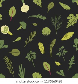 Seamless pattern with green plants, salad leaves and spice herbs on black background. Backdrop with wholesome vegan or vegetarian food. Colored vector illustration for fabric print, wrapping paper.