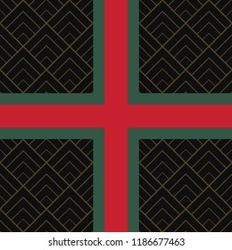 Seamless pattern with green and red ribbon and diamond tile.