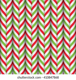 Seamless Pattern with Green Red and White Candy Cane Stripes. Xmas Texture with Candy Canes Background. Festive Vector Illustration.