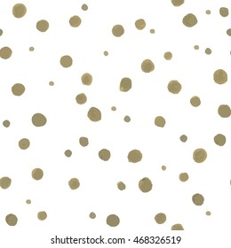 Seamless pattern of green small dots randomly on a white background.  For your design. Vector.