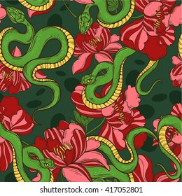 Seamless Pattern With Green Snakes In Flowers Tattoo Art Coloring Books Hand Drawn