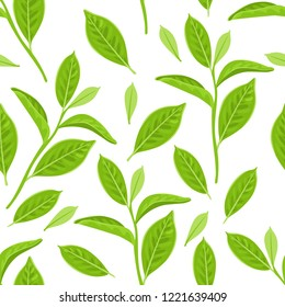 Seamless pattern with green tea leaves on white background. Vector illustration of a plant in a simple flat cartoon style.