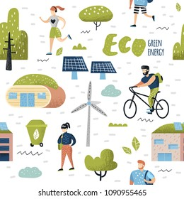 Seamless Pattern with Green Town. Environmental Conservation. Eco City Future Technologies For Preservation of the Planet. Alternative Energy Ecology Background. Vector illustration