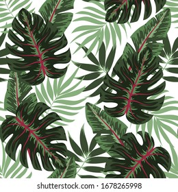 Seamless pattern with green tropical leaves on white background. Floral seamless vector tropical pattern background with exotic leaves, jungle leaf. Trendy summer Hawaii print.