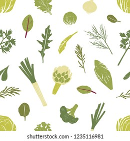 Seamless pattern with green vegetables, salad leaves and spice herbs on white background. Backdrop with wholesome organic veggie food. Colorful vector illustration for textile print, wallpaper.