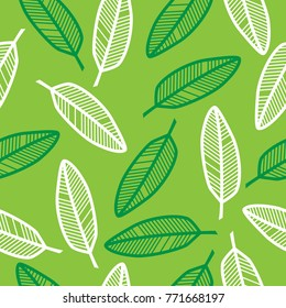 Seamless pattern. Green and white leaves.