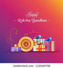 Seamless pattern greeting card design with illustration of beautiful rakhi and gift boxes for Happy Raksha Bandhan celebration.