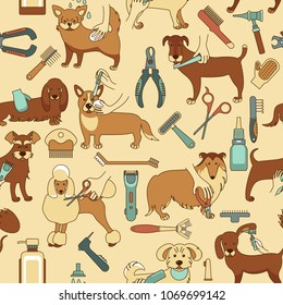 Seamless pattern with grooming dogs of different breeds, tools and supplies. Colorful background for grooming salon and pet shop.