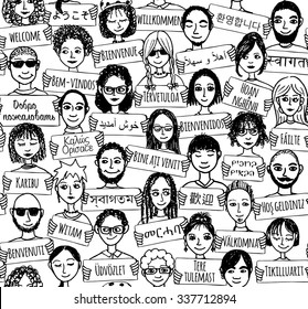 """Seamless pattern of a group of hand drawn people holding """"welcome"""" signs in different languages"""