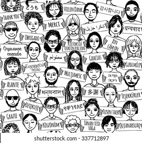 """Seamless pattern of a group of hand drawn people holding """"thank you"""" signs in different languages"""