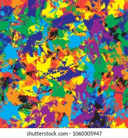 Seamless pattern with grunge chaotic zigzag rainbow elements for web design