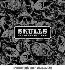 Seamless pattern with grunge skulls on dark background.