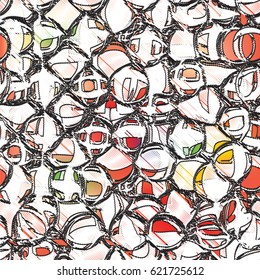 Seamless pattern with grunge striped scribble black and white circles on colorful backdrop