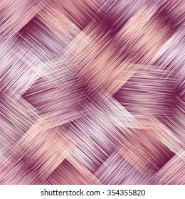 Seamless pattern with grunge striped square elements in pastel colors on violet background for web design