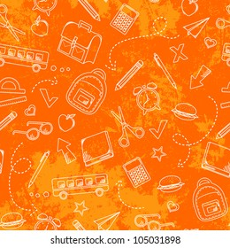 seamless pattern with grungy texture and school doodles (JPEG version available in my gallery)