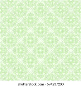 Seamless pattern. Guilloche (security pattern documents). White, green.