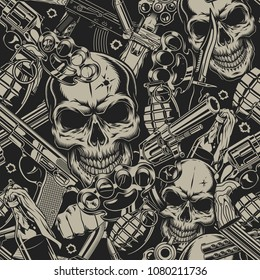 Seamless pattern with guns skull and grenade. vector illustration