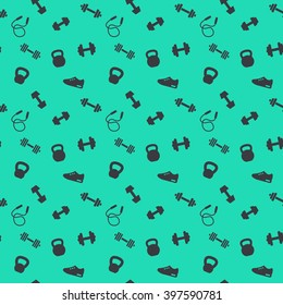 seamless pattern with gym icons, dumbbells, kettlebells, jumping rope, training shoe, pattern in green and black, vector illustration