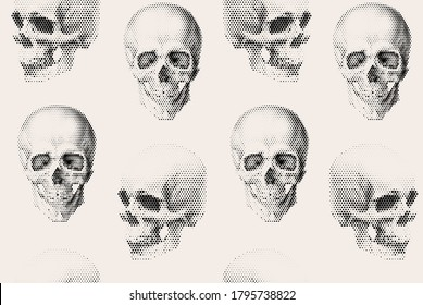 Seamless pattern with halftone human skull vector illustration.